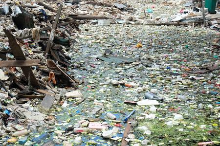Bangkok, Thailand - June 19 2015: Disposal of Solid junk Waste in downtown Bangkok