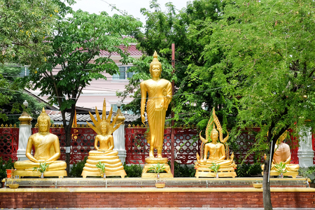 thai style golden buddhas statue in buddhism thai temple