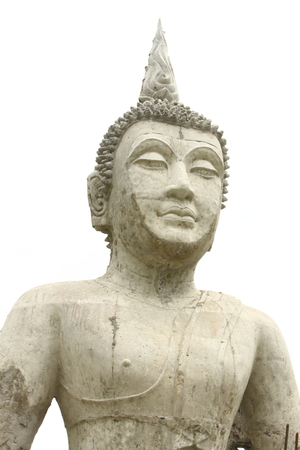 ism: buddha sculpture on white background is in Thailand. Stock Photo