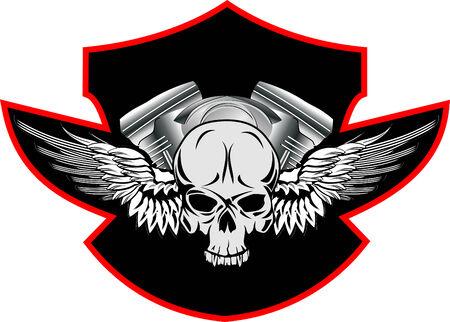 tete de mort: Image du cr�ne, avec des ailes sur la base du moteur