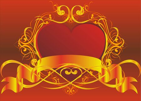 Vector drawing of heart in gold framework Vector