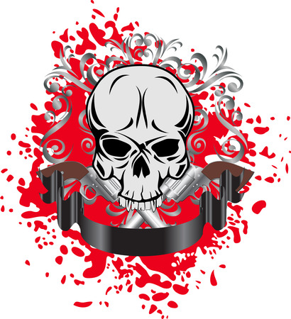 Vector image of skull with two revolvers and patterns Vector