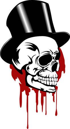 vector skull danger sign: Skull and hat