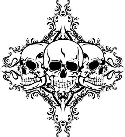 vector skull danger sign: Skull with  pattern