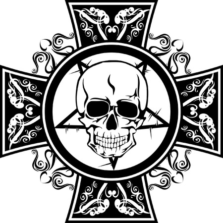 Skull with  cross Vector