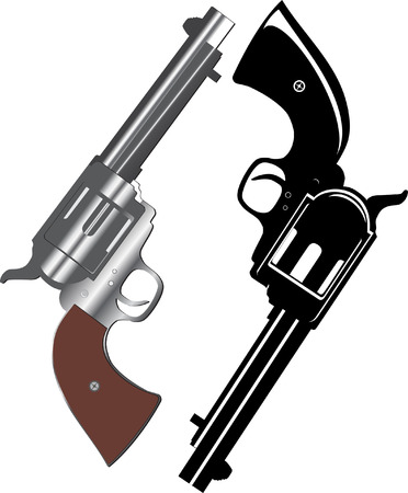 image of two revolvers on  white background Stock Vector - 6168431