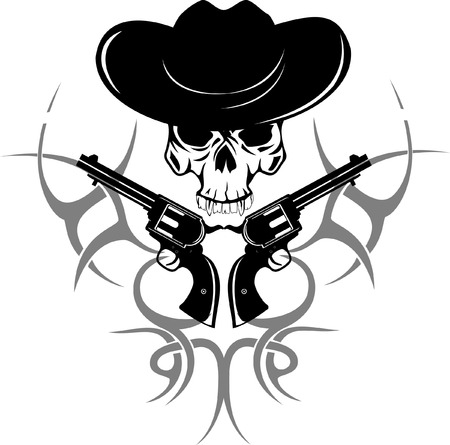 Vector image of two revolvers and  skull in  hat