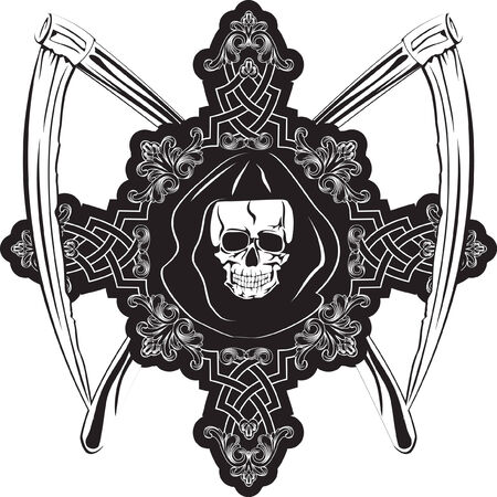 Vector image of  human skull in cross and plaits Vector