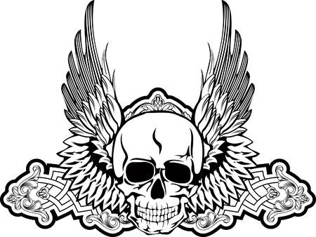 cross and wings: Cr�neo de imagen vectorial con alas Vectores