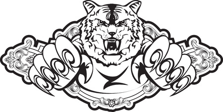 image attacking tiger in frame Vector