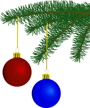 furtree: Fur-tree branch with New Years toys Illustration