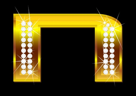 gold letters: Vector gold letters with brilliants on  black background Illustration