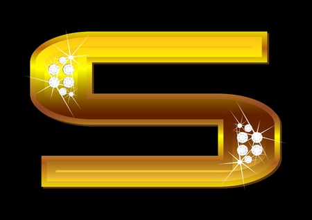 Vector gold letters with brilliants on  black background Vector