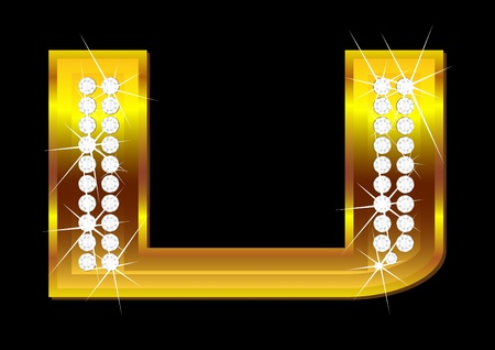 brilliants: Vector gold letters with brilliants on  black background Illustration
