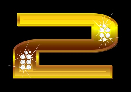 brilliants: Vector gold figures with brilliants on  black background