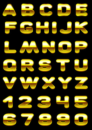 Vector letters and figures with effect of gold Vector