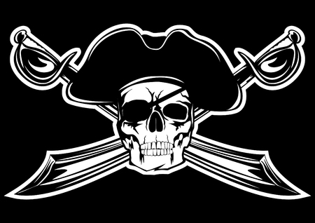 sabre: Piracy flag with  skull and  crossed sabres Illustration