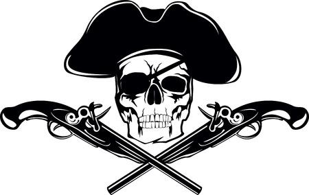 drapeau pirate: Drapeau de la piraterie avec crâne et de pistolets croisés Illustration