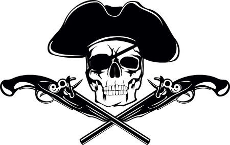 Piracy flag with  skull and crossed pistols Vector