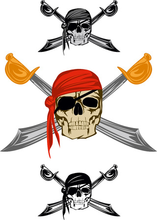 Piracy skull and  crossed sabres Vector