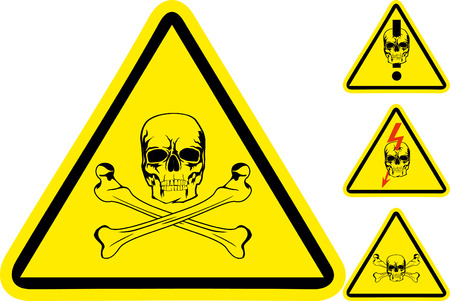 dangerous weapons: Sign on danger with  skull and  crossed bones