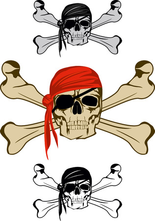 Piracy skull and  crossed bones Vector image  Vector