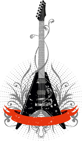 guitar neck:  image guitar with pattern and red ribbon Illustration