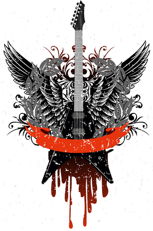 rock guitar:   image guitar with wings, patterns and ribbon