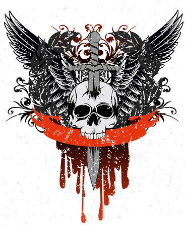 image skull with wings, patterns and ribbon Vector