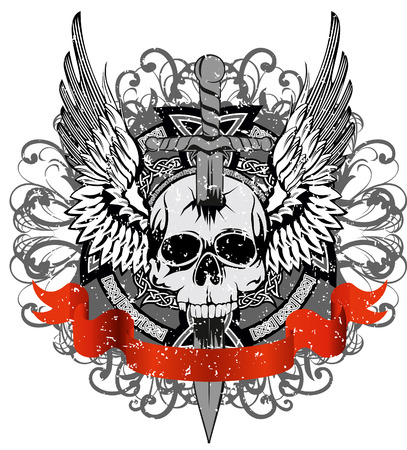 hell: design for T-short skull punched by sword against patterns Illustration