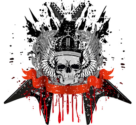 design for T-short skull with crown against crossed  guitars Vector
