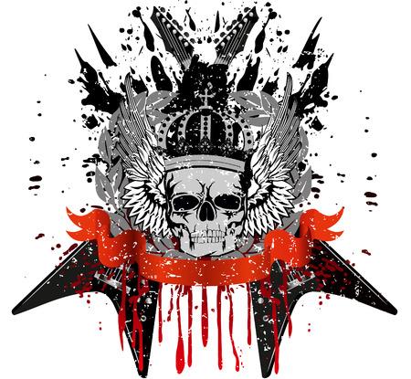 cross and wings: dise�o de cr�neo de T-corto con corona contra guitarras cruzados