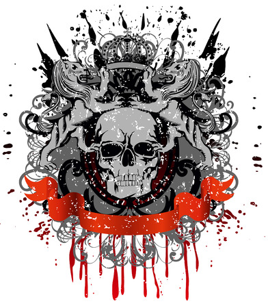 skull tattoo: design for  T-short  skull with two heraldic lions holding  crown