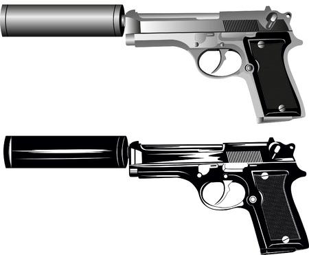 geweer: afbeelding van twee pistolen op witte achtergrond Stock Illustratie
