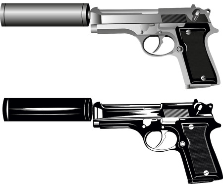 image of two pistols on white background