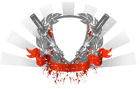 slayer: image frame with two pistols on white background