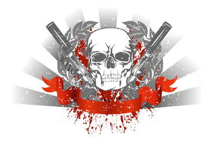 murder: Vector image skull with two pistols and red ribbon