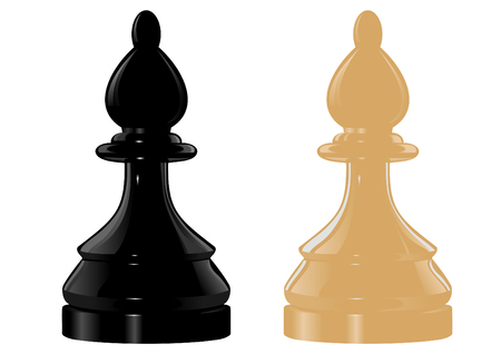 bishop: The image of black and white chess figure bishop (knight) Illustration