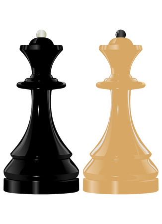 The image of black and white chess figure queen Vector