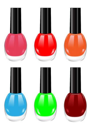 red nails: The vector image of nail polish of various colors