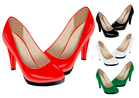 The vector image of female shoes of various colours Vector