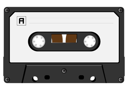 The vector image of an audiocassette close up