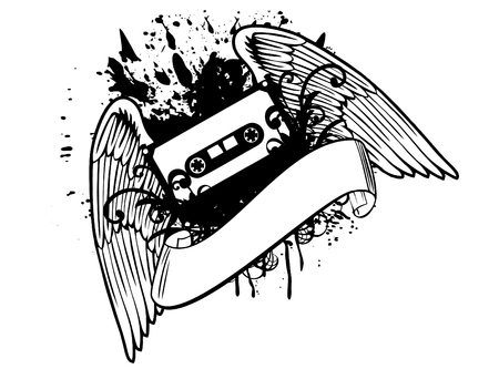 compact cassette: Design of T-short the cassette with wings Illustration