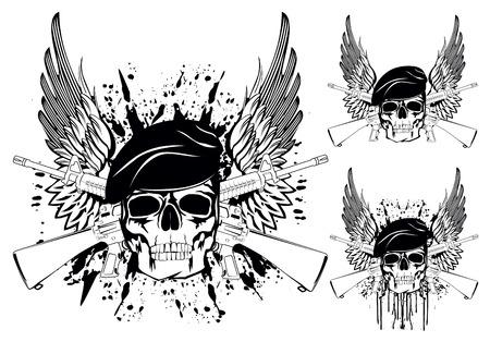 skull: Le vecteur d'image du cr�ne portant un b�ret avec les fusils crois�s Illustration