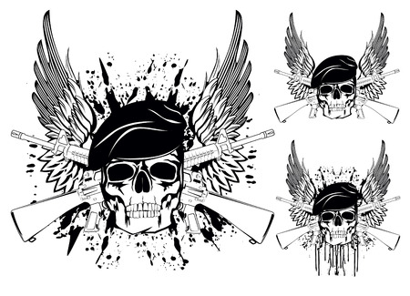 killer: The vector image of skull in beret with the crossed rifles