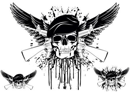 tete de mort: Le vecteur d'image du cr�ne portant un b�ret avec les fusils crois�s Illustration