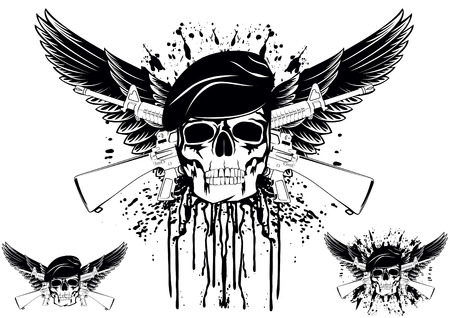 firearms: The vector image of skull in beret with the crossed rifles