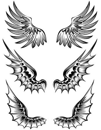 teufel engel: verschiedene wings