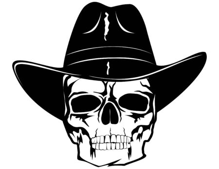 skull in black cowboys hat Vector