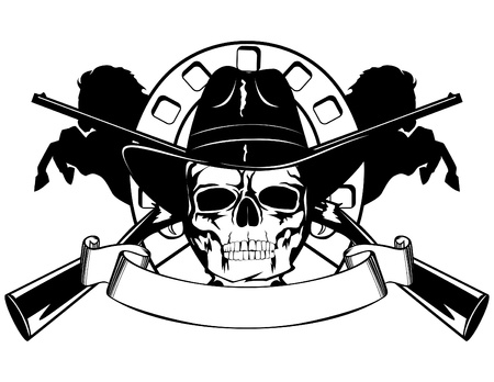 killer: Skull in black hat with the crossed rifles